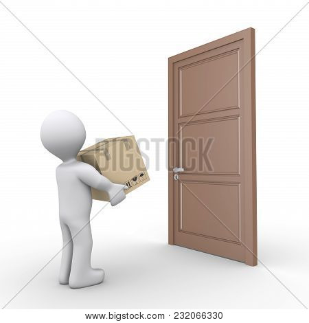 3d Person Is Carrying A Parcel And Is Outside Of A Closed Door
