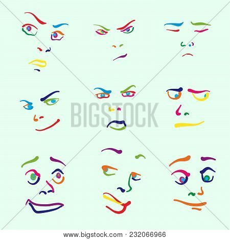 Various Colorful Drawn Faces. Hand-drawn Vector Icons For Digital Marketing And Printed Wall Art.