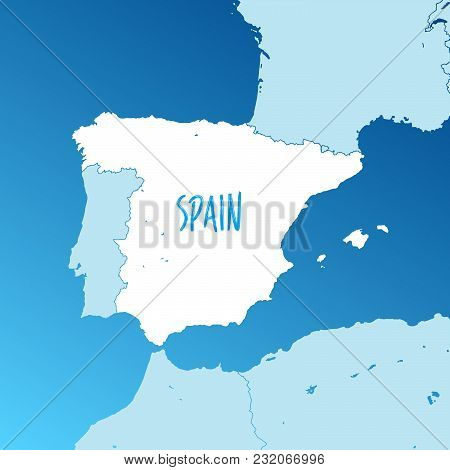 Spain Vector Map. Two-toned Silhouette Version. Rich Details For Borders, Neighbours And Islands. Us