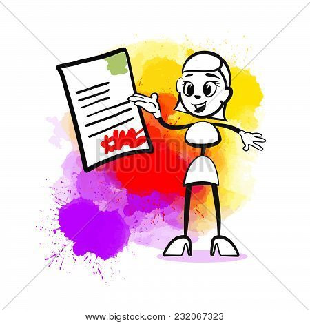 Business Woman Signing Contract. Emotional Business Icon For Digital Marketing And Print. Stickman S