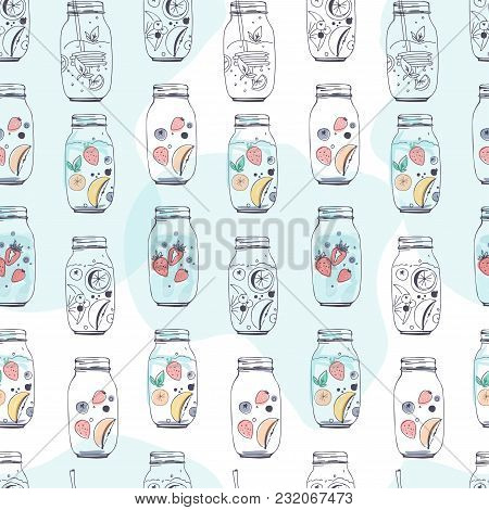 Detox Water Hand Drawn Illustration For Your Design. Seamless Pattern