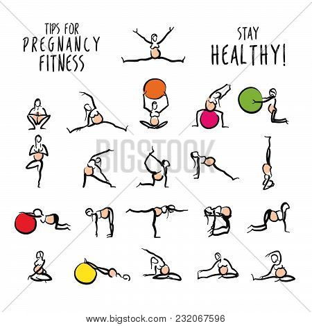Set Of Pregnant Yoga Fitness Doodles. Hand-drawn Stickman Icons For Digital Marketing And Wall-art P