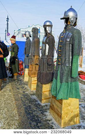 Editorial. Omsk, Russia - February, 18 2018. Lenina Street, Maslenitsa Shrovetide Celebration Exposi