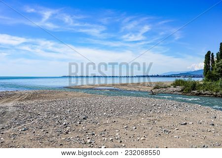 Natural Landscape Witnatural Landscape Overlooking The River Flowing Into The Sea With Growing Plant