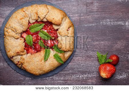 Strawberry Galette. Homemade Healthy Wholegrain Berry Open Pie. Fruit Tart. Top View.