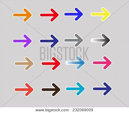 Set Multicolor Arrows Icon On White Background. Set Multicolor Arrows Sign. Flat Style. Multicolor A