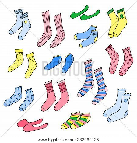 Set Of Different Doodle Colorful Socks Isolated On White Background.