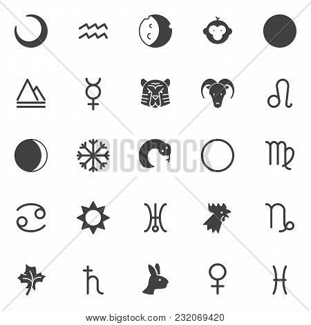 Astrology Vector Icons Set, Modern Solid Symbol Collection, Filled Style Pictogram Pack. Signs, Logo