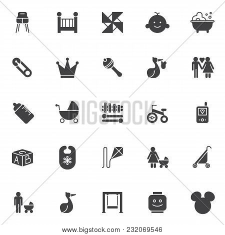 Baby Accessories Vector Icons Set