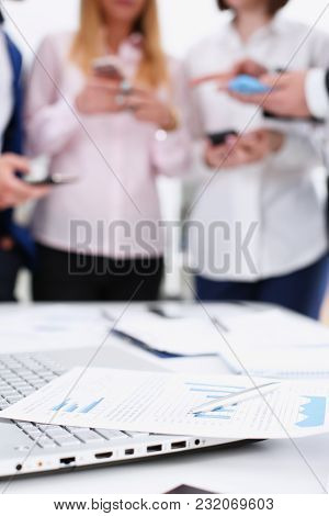 Group Of People Look At Phones In Arms At Office Closeup. Read News Mania Send Sms Chat Addict, Use