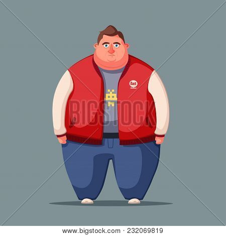 Sad Fat Man. Obese Character. Fatboy. Cartoon Vector Illustration. Concept Of Weight. Funny Cartoon