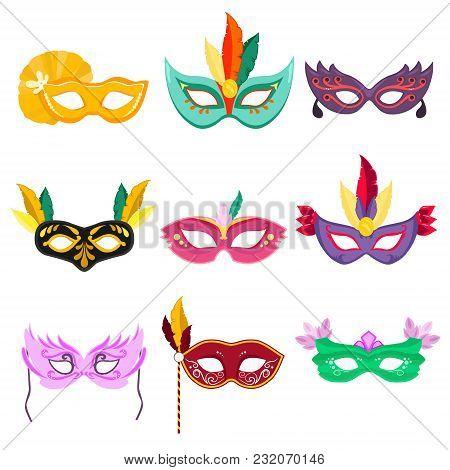 Set Of Vector Illustrations. Venetian Masquerade Masks.