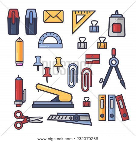 Set Of Vector Office Accessories Icons. School Supplies, Stationery.