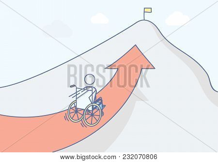 Paraplegic With His Wheelchair Racing To The Top Of The Mountain. Vector Illustration For Determinat