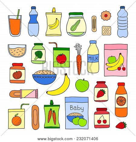 Collection Of Doodle Colored Baby Foods Including Drinks, Porridges, Puree And Desserts Isolated On