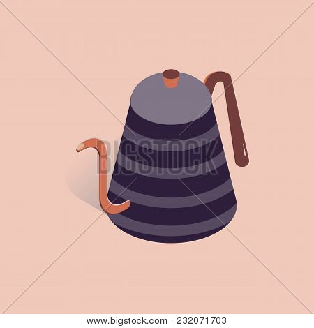 Vector Illustration With 3d Coffee Or Tea Pot. Kettle In Isometric Flat Style On Pink Background
