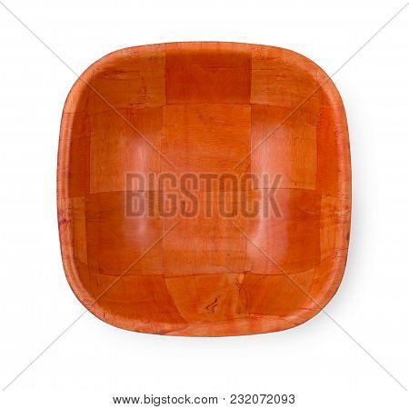 Empty Square Bamboo Bowl For Salad Isolated On White Background, Top View, Close Up.