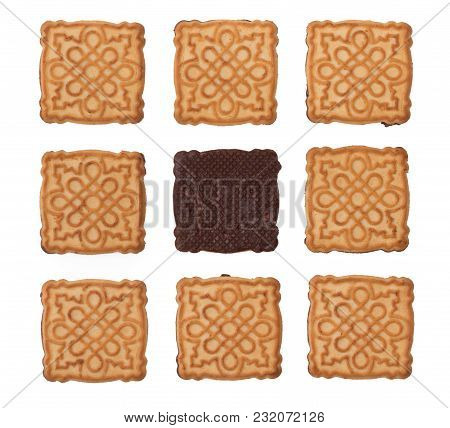 Chocolate Cookies Background, Layout Of Biscuits On A White Backdrop.