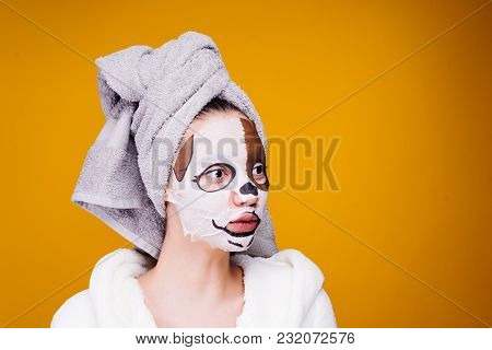 Young Girl With A Towel On Her Head, Face Mask With A Dog Face