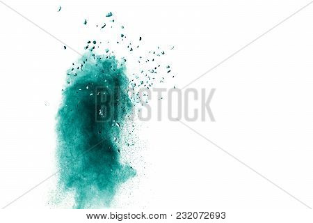 Green Color Powder Explosion Cloud Isolated On White Background.