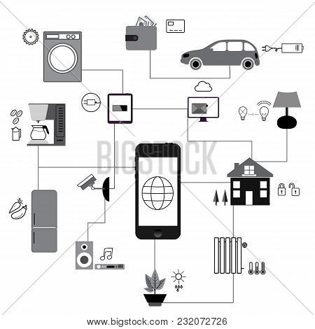Set Of Icons. Internet Of Things And The Concept Of Home Automation, Connecting The User To A Smartp