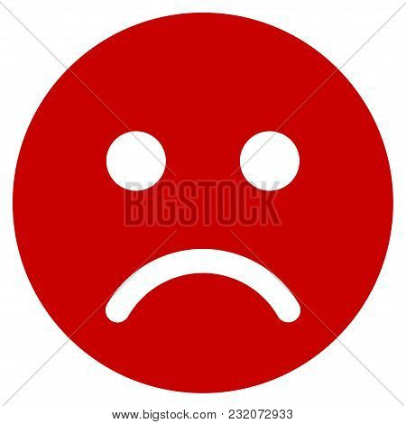Sad Mood Smiley Vector Pictogram. Illustration Style Is A Flat Iconic Symbol.