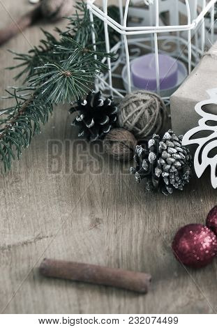 Vintage Christmas Background And Place For Congratulations .photo With Copy Space