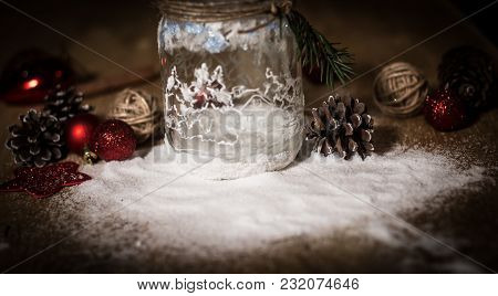 Volumetric Decorative Composition Christmas Decor On Light Background.photo With Copy Space.
