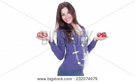 Very Happy Young Woman Showing Christmas Balls.isolated On A White Background