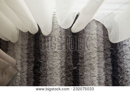 Carpet And White Curtain Decoration In Home Or Hotel