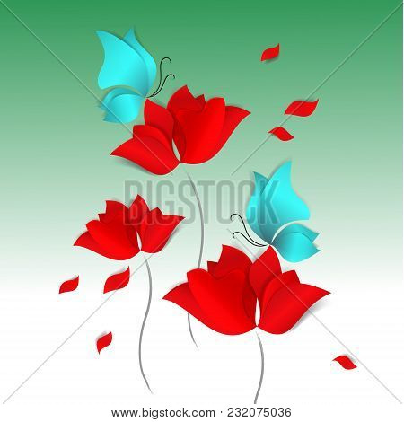 Hello Spring Paper-cut Style Card On Green Background. Red Flower, Blue Butterfly. 3d Vector, Day, H