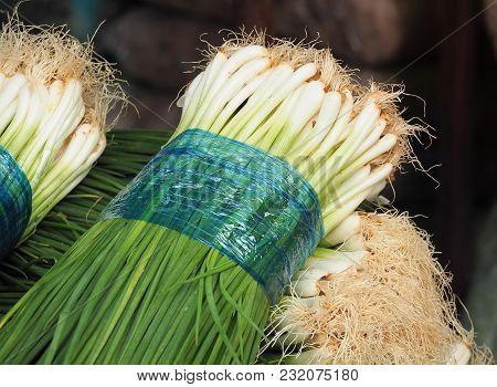 Fresh Green Onion Sold In Market. Thailand.