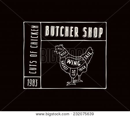 Stock Vector Chicken Cuts Diagram In The Style Of Handmade Graphics. Label Template For Butcher Shop