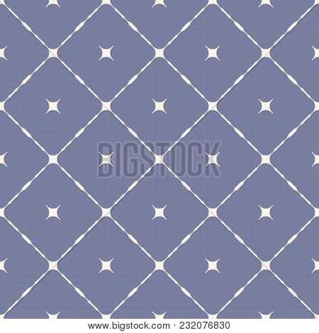 Vector Geometric Seamless Pattern With Diagonal Square Grid, Rounded Shapes, Stars. Simple Minimalis