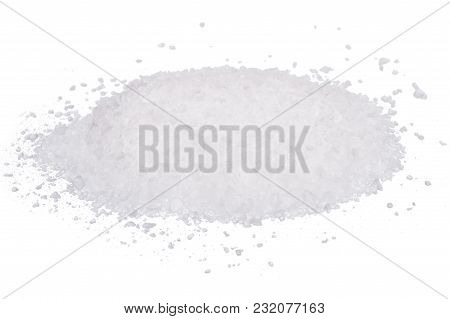 Rock Of White Sea Salt Isolated On White Background