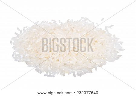Rock Of White Rice Isolated On White Background