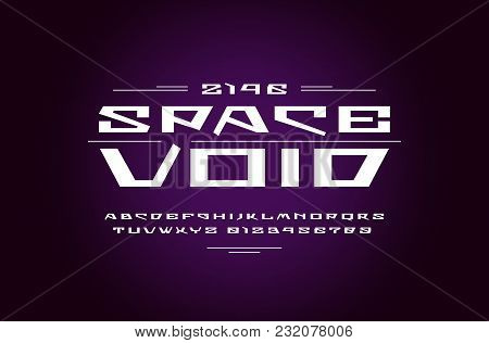 Geometric Sans Serif Font In Futuristic Style. Letters And Numbers For Sci-fi, Military, Cosmic Logo