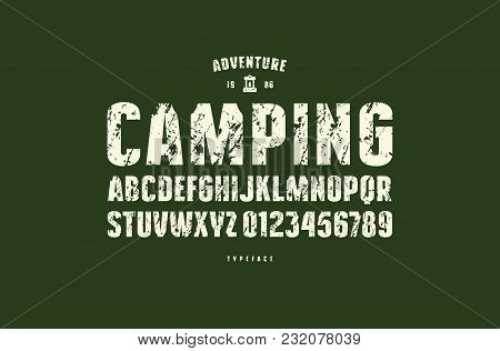 Original Sans Serif Font. Bold Face. Letters And Numbers With Rough Texture For Logo And Emblem Desi