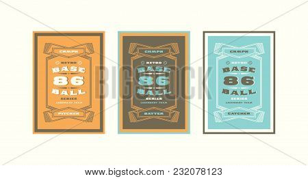 Set Of Baseball Card Design In Vintage Style. Player Cards For Pitcher, Batter And Catcher