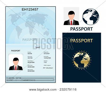illustration  Passport with biometric data. Identification Document.