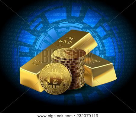 illustration Coins Bitcoin and two Gold bars on dark background. Concept cryptocurrency in financial world. Banking business.
