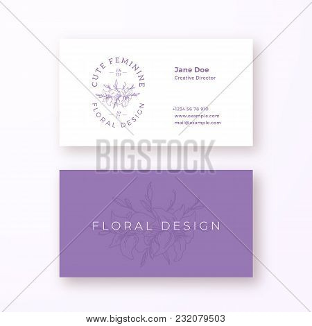 Abstract Feminine Flower Vector Sign Or Logo And Business Card Template. Premium Stationary Realisti