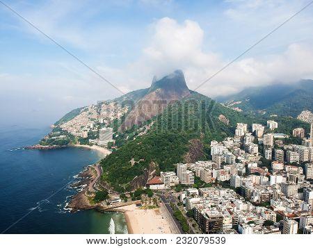 Aerial Drone View Of Leblon With Dois Irmaos Mountain, Rio De Janeiro, Brazil