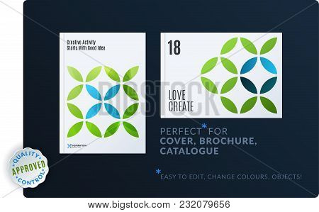 Creative Design Of Brochure Set, Abstract Annual Report, Horizontal Cover, Flyer In A4 With Turquois