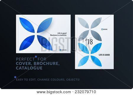 Creative Design Of Brochure Set, Abstract Annual Report, Horizontal Cover, Flyer In A4 With Blue Col