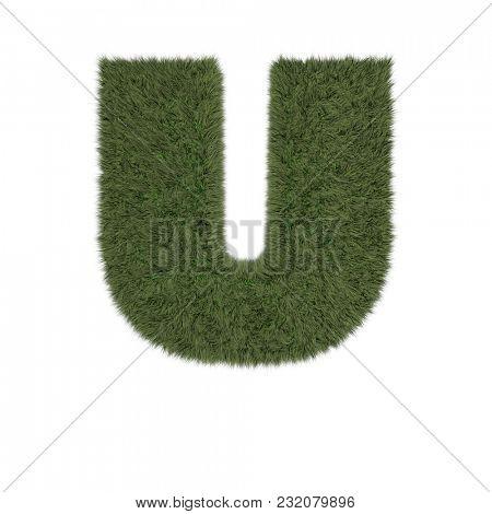 3D Render of a Grassy Alphabet Letter