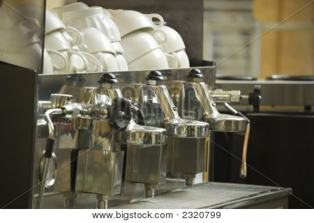 Coffee Machine And Clean Cups