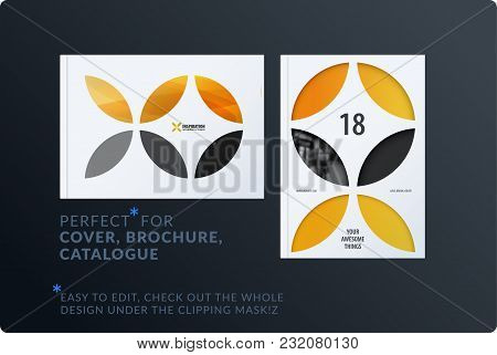 Creative Design Of Brochure Set, Abstract Annual Report, Horizontal Cover, Flyer In A4 With Yellow C