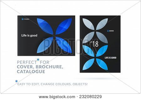 Creative Design Of Business Brochure Set, Abstract Horizontal Cover Layout, Flyer In A4 With Blue Co