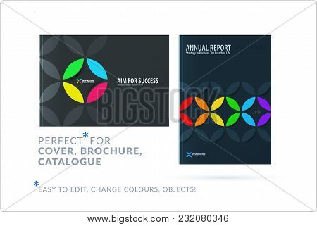 Creative Design Of Business Brochure Set, Abstract Horizontal Cover Layout, Flyer In A4 With Colourf
